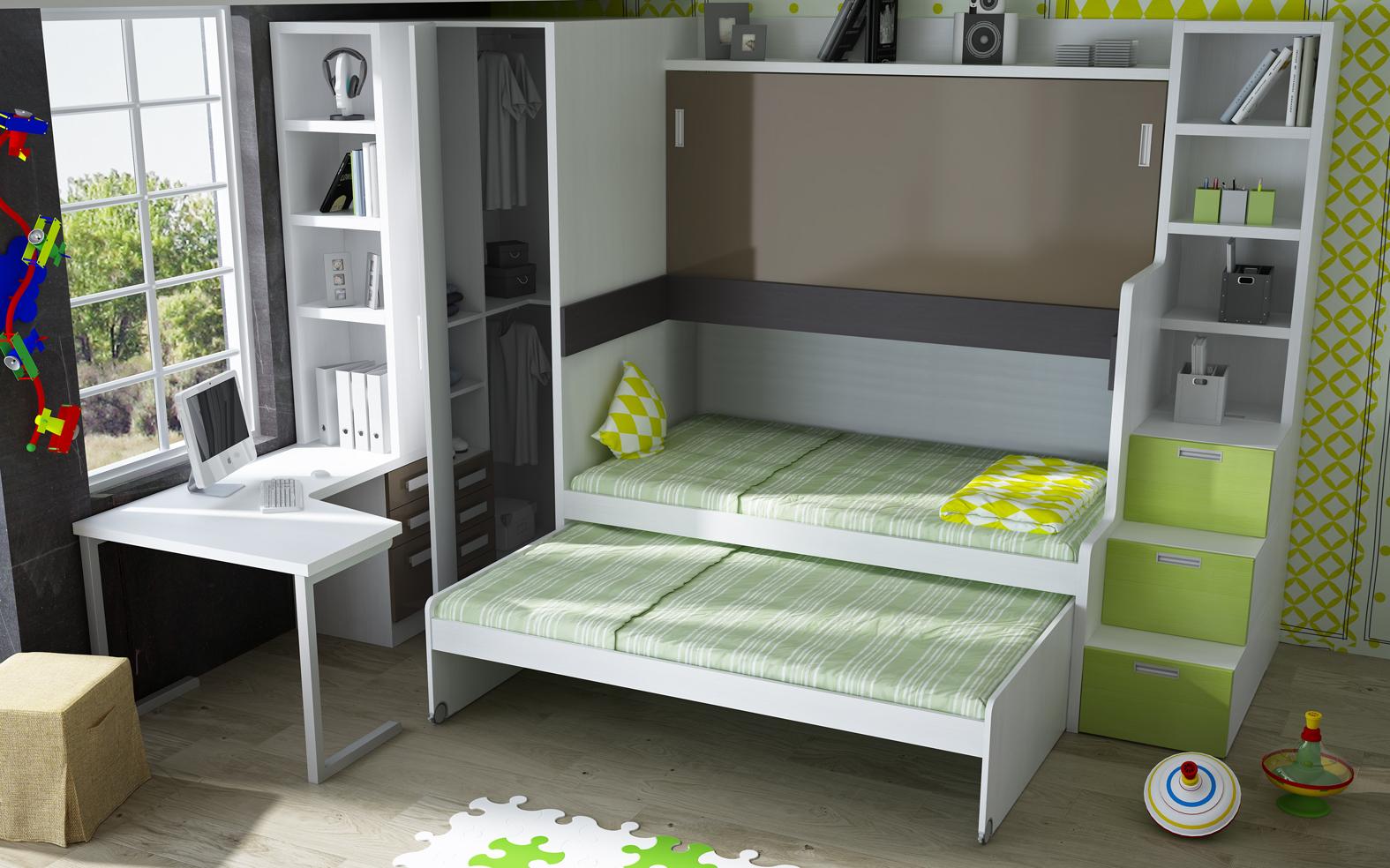 Parchis camas escritorio para habitaciones juveniles - Camas dobles infantiles para espacios reducidos ...
