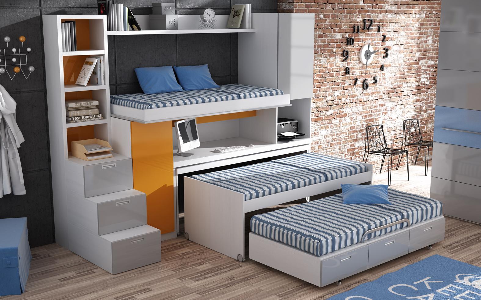 Parchis camas escritorio para habitaciones juveniles virtual mobel - Cama alta con escritorio ...