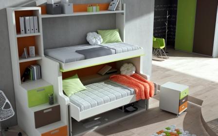 es un modelo super practico y funcional ideal para dos nios que tengan que compartir cuarto ademas al lado lleva una libreria con cajones a modo de