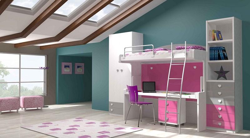 Parchis camas escritorio para habitaciones juveniles - Cama litera con escritorio debajo ...