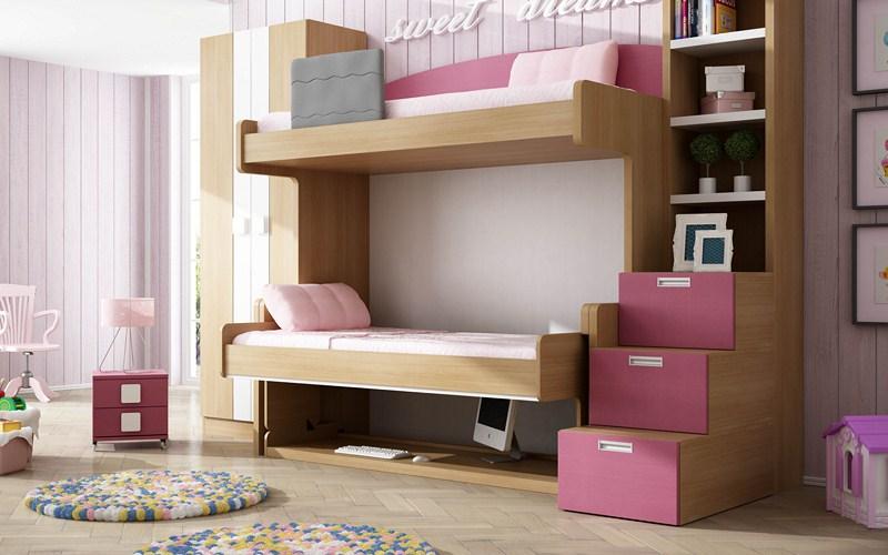 camas escritorio rosa vintage