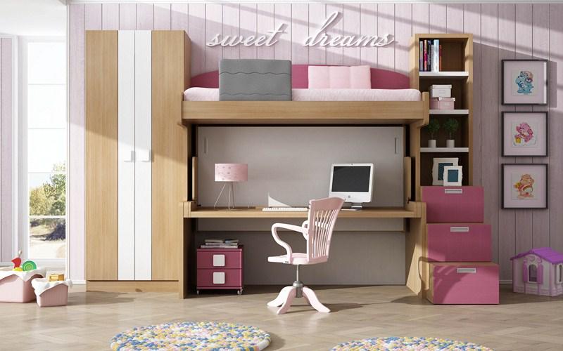 Parchis camas escritorio para habitaciones juveniles - Litera con escritorio debajo ...